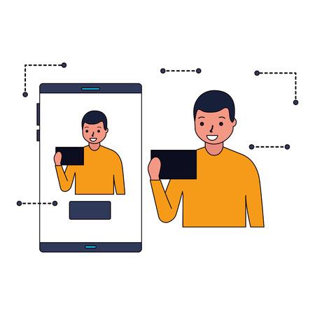 man face scan biometric digital technology vector illustration
