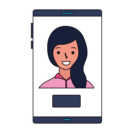 woman on screen mobile button vector illustration Banque d'images - 112731915