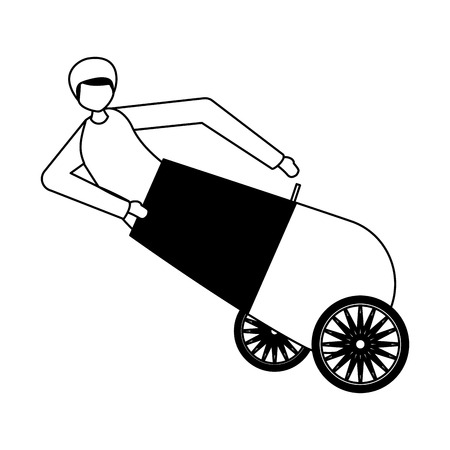 cannonball man character circus fun fair vector illustration