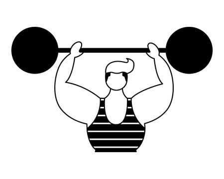 Hombre fuerte con barbell circus fun fair ilustración vectorial