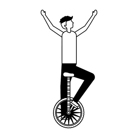acrobat man riding unicycle circus fun fair vector illustration