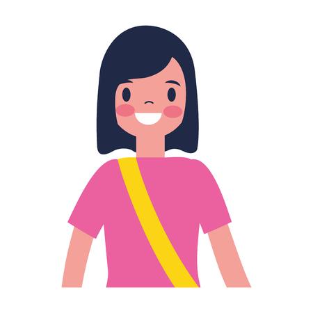 traveler woman tourist on white background vector illustration