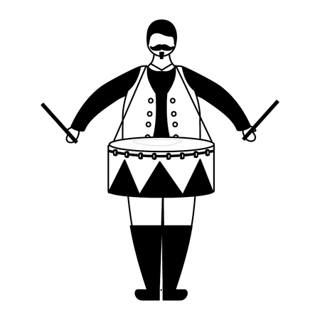 man character with drum circus fun fair vector illustration