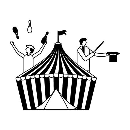 juggler and magician tent circus fun fair vector illustration Illustration