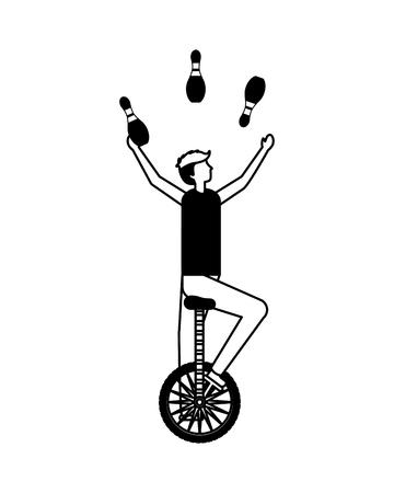 acrobat man riding unicycle circus fun fair vector illustration