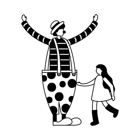 clown and little girl circus fun fair vector illustration