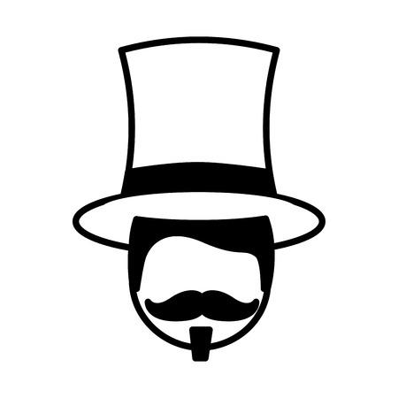 host man face circus fun fair vector illustration