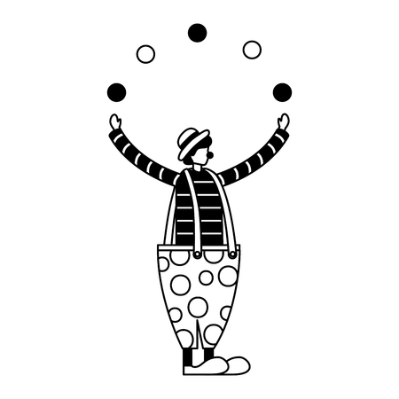 clown juggling with balls circus fun fair vector illustration Illusztráció