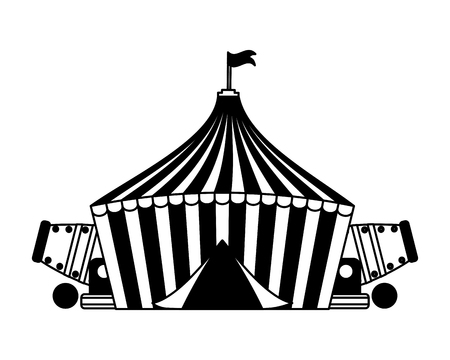 tent and cannons circus fun fair vector illustration