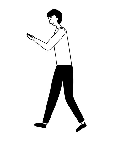 man using cellphone device white background  vector illustration