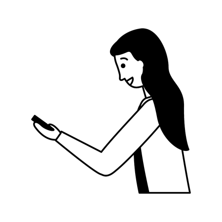 woman using cellphone device white background  vector illustration