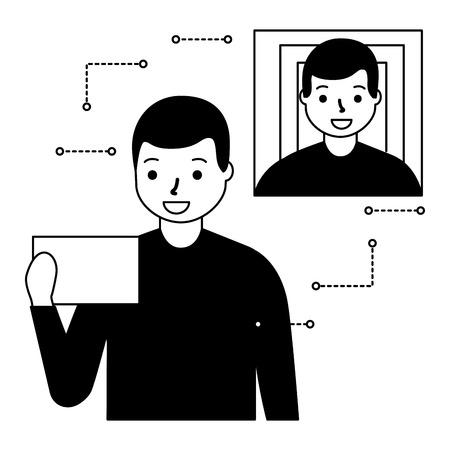 man face scan biometric digital technology  vector illustration Illustration