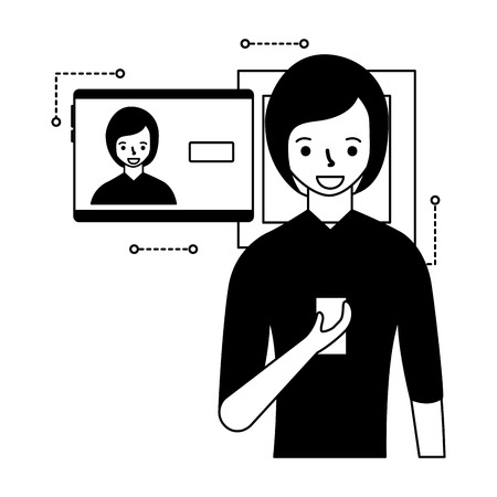 woman face scan process gadget  vector illustration Ilustrace