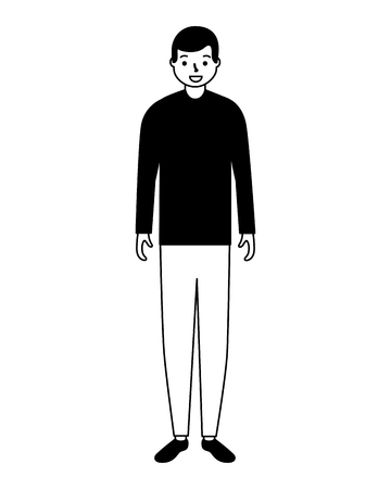 man standing character white background  vector illustration