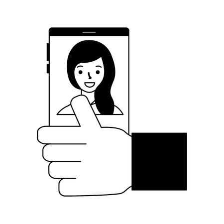 hand with cellphone woman photo  vector illustration Banque d'images - 112778327