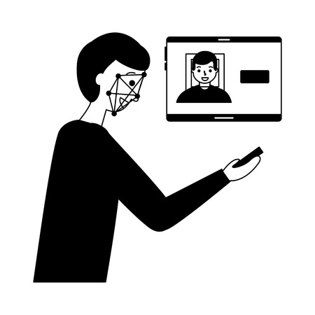 man face scan biometric digital technology  vector illustration Foto de archivo - 112778331