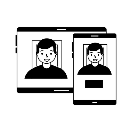 man face scan biometric digital technology  vector illustration 向量圖像