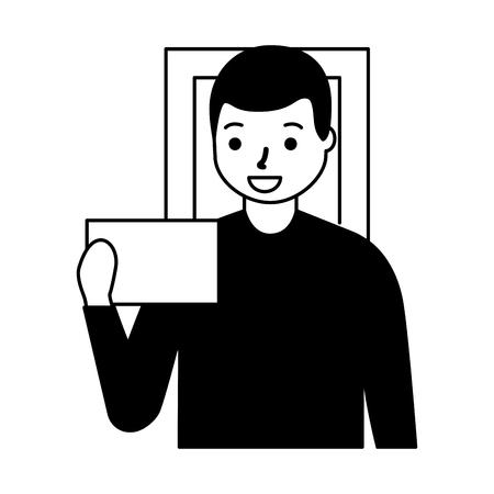man face scan biometric digital technology  vector illustration  イラスト・ベクター素材