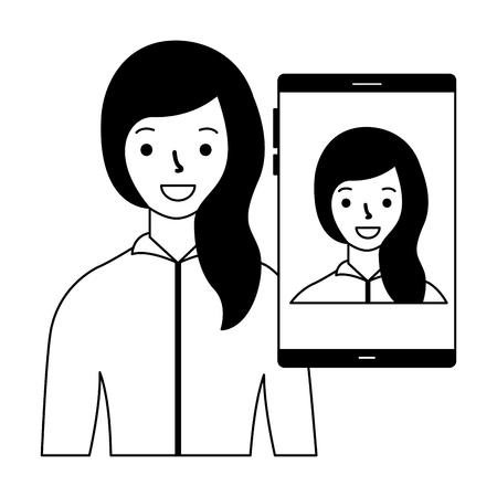 woman smartphone scan process identification  vector illustration