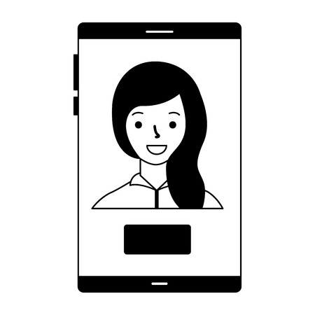 woman on screen mobile button  vector illustration Banque d'images - 112778341