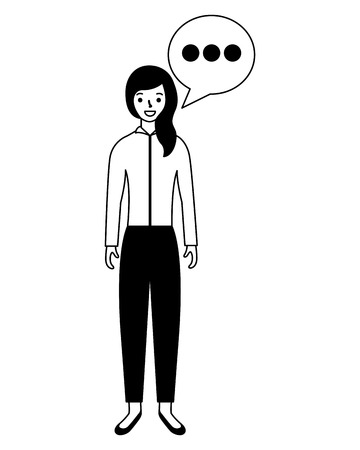 woman standing with speech bubble  vector illustration Illusztráció