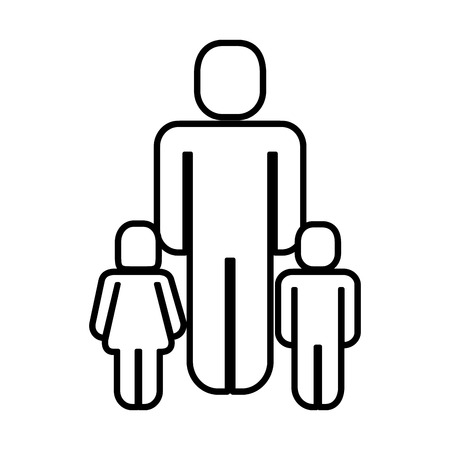 father with kids silhouette figure vector illustration design Ilustrace