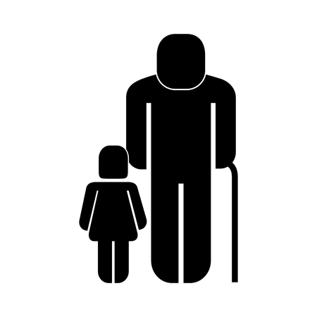 old man with girl figure silhouette vector illustration design