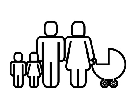 family figure with kids and baby cart silhouette icon vector illustration design Illustration
