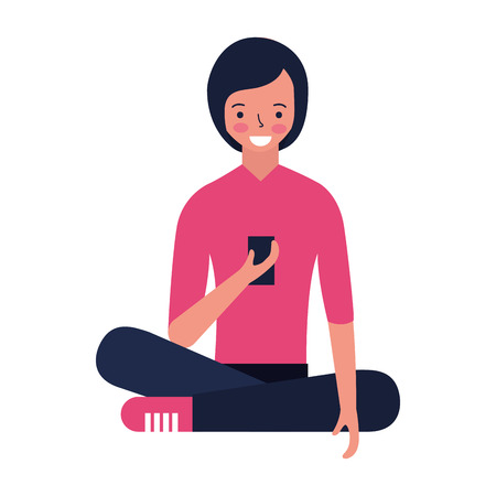 woman sitting using mobile device vector illustration