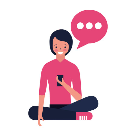 woman sitting using mobile speech bubble vector illustration