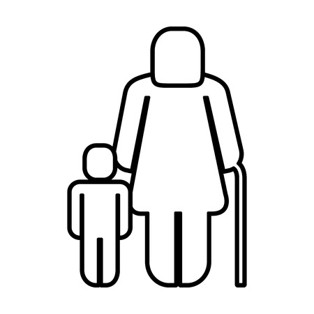 old woman with boy figure silhouette vector illustration design