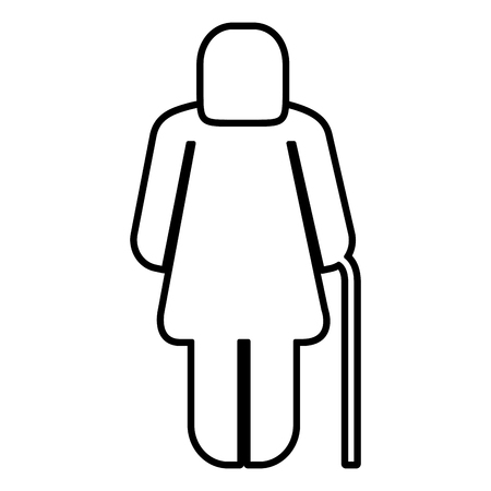 old woman figure silhouette vector illustration design Ilustrace