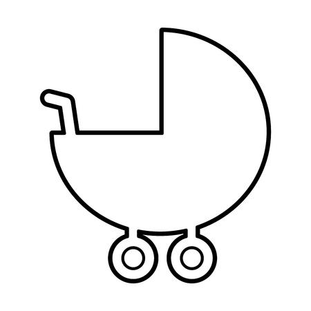 Diseño de ilustración de vector de figura de silueta de carro de bebé