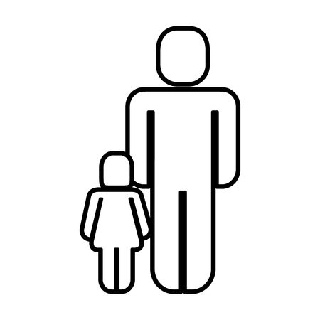 father with daughter silhouette figure vector illustration design