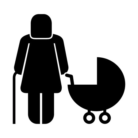 old woman with baby cart figure silhouette vector illustration design Ilustrace