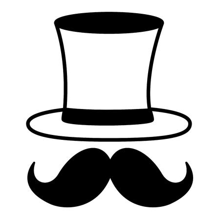 hipster mustache with hat elegant vector illustration design Archivio Fotografico - 127273476