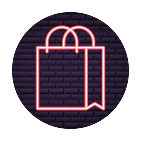 shopping bag of neon light vector illustration design Illustration