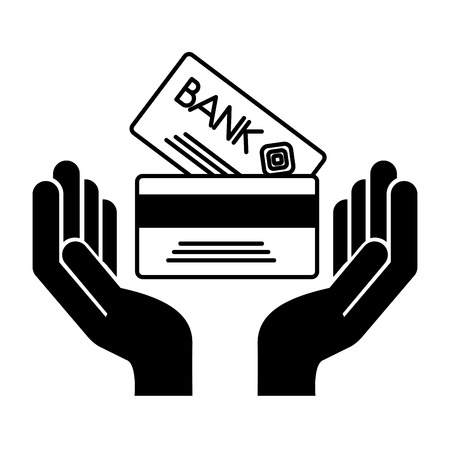 hands with credit card money vector illustration design Illusztráció