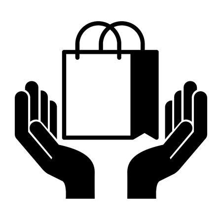 hands with shopping bag isolated icon vector illustration design