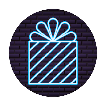 gift box present of neon light vector illustration design