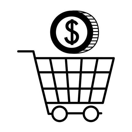 shopping cart with coin dollar isolated icon vector illustration design Archivio Fotografico - 127273505