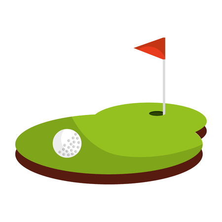 disegno dell'illustrazione di vettore dell'icona isolata bandiera di sport di golf Vettoriali