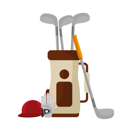 golf bag with clubs and cap vector illustration design Stock Illustratie
