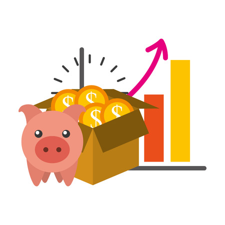 saving piggy with infographic isolated icon vector illustration design Illustration