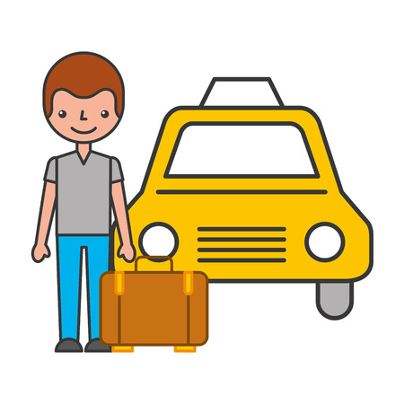traveler with suitcase and taxi vector illustration design