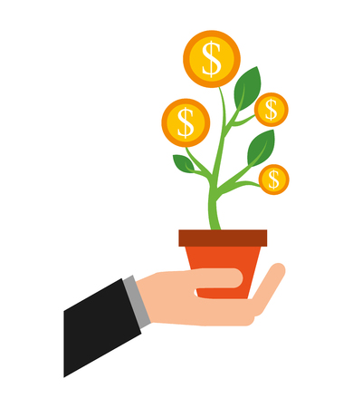 hand with plant of coins dollar isolated icon vector illustration design Illustration