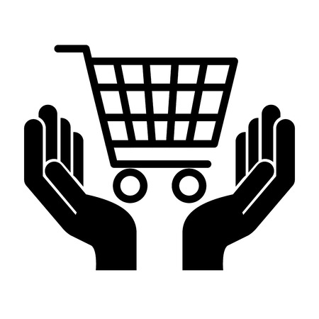 hands with shopping cart isolated icon vector illustration design Archivio Fotografico - 112790015