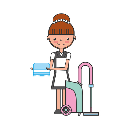 woman laundry hotel service character vector illustration design Ilustracja
