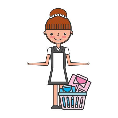 woman laundry hotel service character vector illustration design Illustration