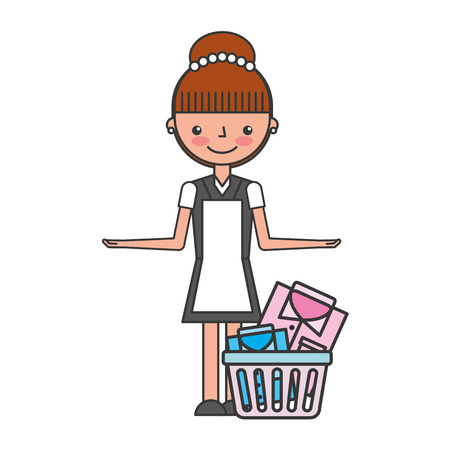 woman laundry hotel service character vector illustration design Ilustracja